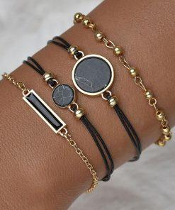 5 pièces ensemble Style du haut de la mode des femmes bracelet en cuir de luxe analogique Quartz montre-bracelet dames montre femmes robe Reloj Mujer horloge noire
