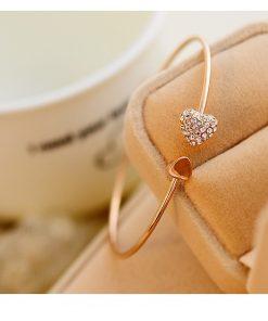 Bracelet cœur en cristal pour femme