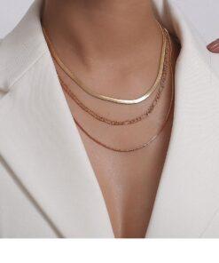 collier ras du cou superposé pour femme